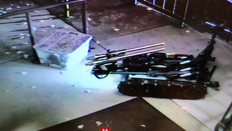 A Billings Police Department robot was used to remove the suspicious tote. (Photo by Justin Hosa/MTN News)