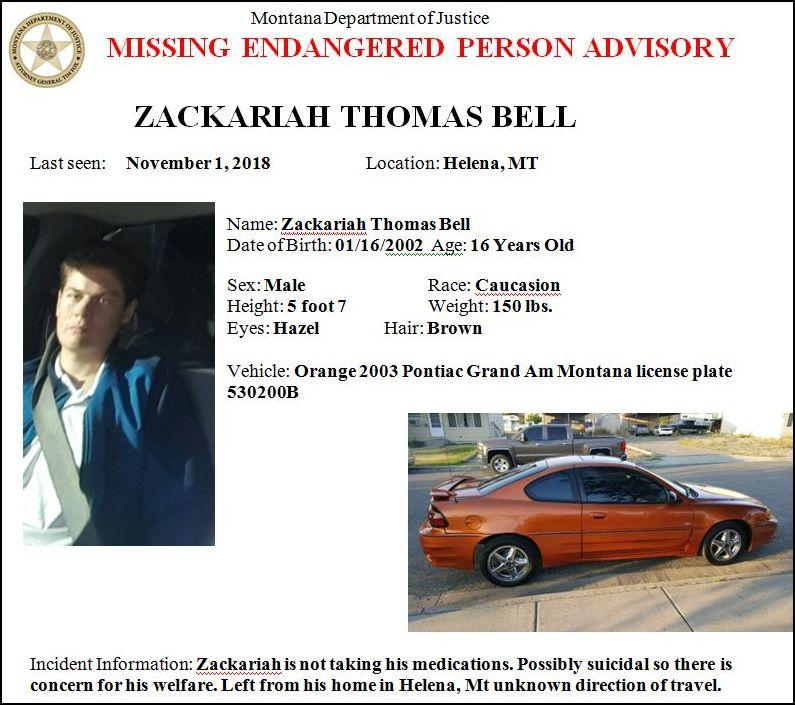 Missing/Endangered Person Advisory for Zackariah Bell of Helena