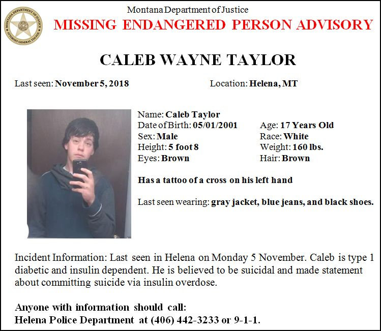 Missing/Endangered Person Advisory issued for Caleb Taylor of Helena