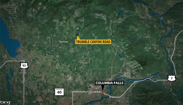 Columbia Falls Bear Attack Map