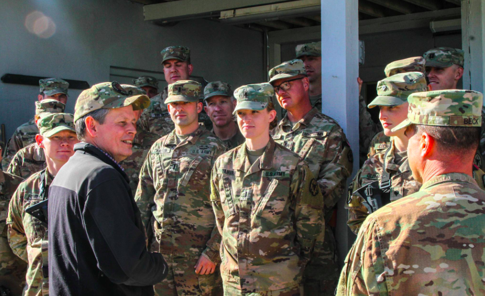 Senator Steve Daines visited troops with the Montana National Guard deployed to the Middle East. (Photo courtesy of the 495th Combat Sustainment Support Battalion)