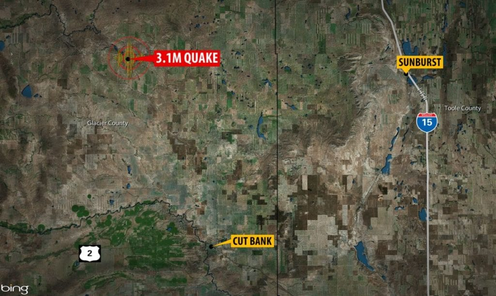 The quake was centered about 25 miles north-northwest of Cut Bank.
