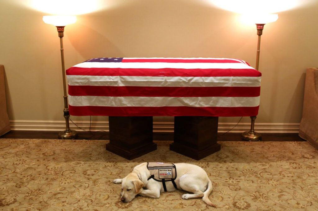 """Jim McGrath, Bush's spokesman, posted an image of Sully next to Bush's casket on Sunday along with the caption, """"Mission complete."""""""