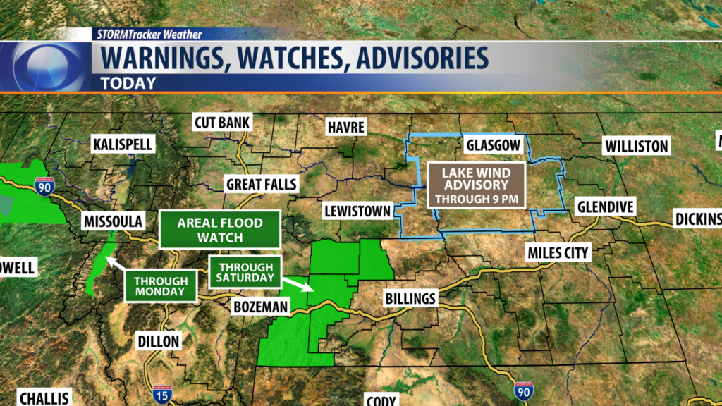 Areal Flood Watch and Lake Wind Advisory